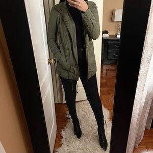 FOREVER 21 Military style coat in army green S